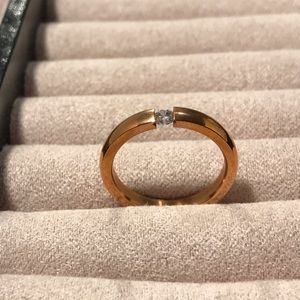 Gold Plated w/Diamond Cut CZ Ring